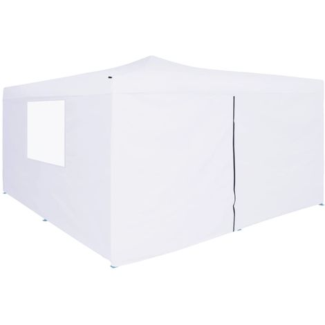 Hommoo Folding Gazebo with 4 Sidewalls 5x5 m White VD46773