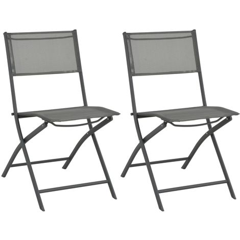 Hommoo Folding Outdoor Chairs 2 pcs Steel and Textilene