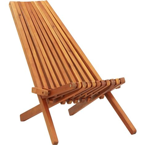 Hommoo Folding Outdoor Lounge Chair Solid Acacia Wood