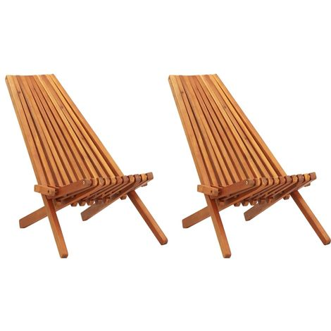 Hommoo Folding Outdoor Lounge Chairs 2 pcs Solid Acacia Wood