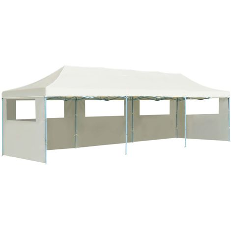 Hommoo Folding Pop-up Party Tent with 5 Sidewalls 3x9 m Cream VD29141