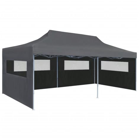 Hommoo Folding Pop-up Partytent with Sidewalls 3x6 m Anthracite
