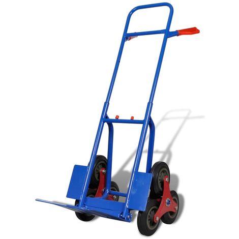 Hommoo Folding Sack Truck with 6 Wheels Blue QAH03603