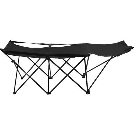 Hommoo Folding Sun Lounger Black Steel QAH46144