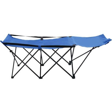 Hommoo Folding Sun Lounger Blue Steel QAH46143