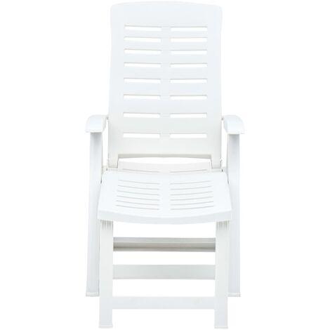 Hommoo Folding Sun Lounger Plastic White QAH46649