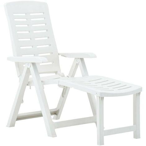Hommoo Folding Sun Lounger Plastic White VD46649