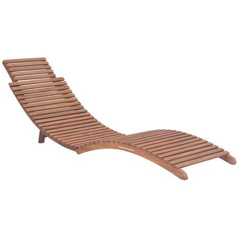Hommoo Folding Sun Lounger Solid Teak Wood QAH28854