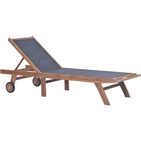 Hommoo Folding Sun Lounger with Wheels Solid Teak and Textilene