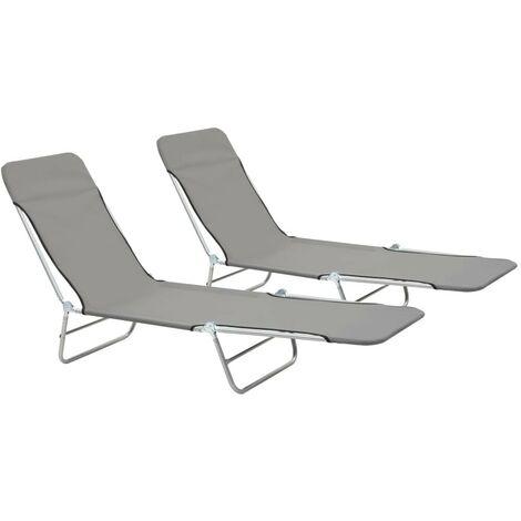 Hommoo Folding Sun Loungers 2 pcs Steel and Fabric Grey VD28503