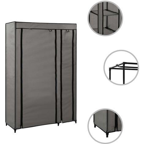 Hommoo Folding Wardrobe Grey 110x45x175 cm Fabric QAH23536