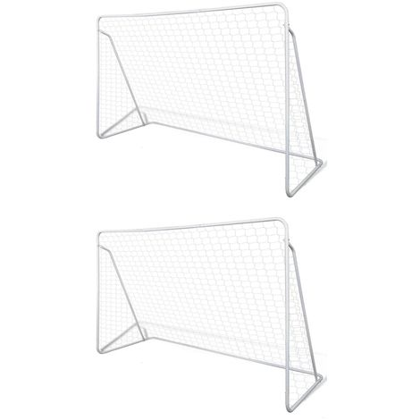 Hommoo Football Goal Nets Steel 2 pcs 240x90x150 cm