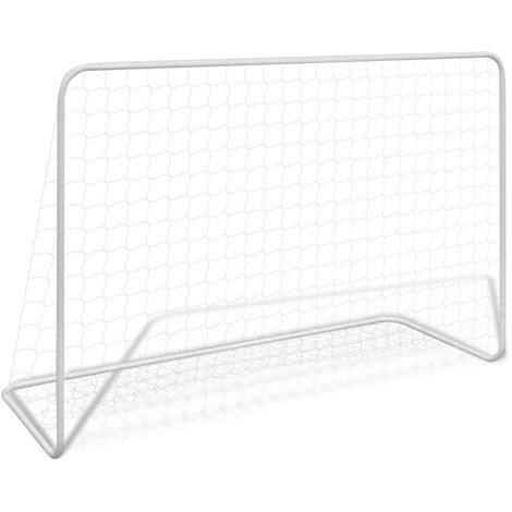 Hommoo Football Goal with Net 182x61x122 cm Steel White