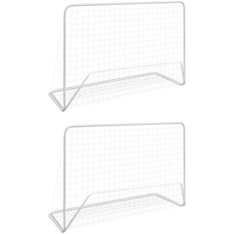 Hommoo Football Goals 2 pcs with Nets 182x61x122 cm Steel White