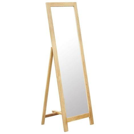 Hommoo Freestanding Mirror 48x46.5x150 cm Solid Oak Wood
