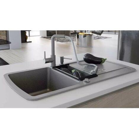 Hommoo Fregadero de cocina con dos senos de granito gris