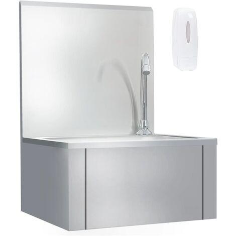 Hommoo Fregadero lavamanos comercial con grifo de acero inoxidable