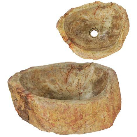 Hommoo Fregadero piedra fósil color crema 45x35x15 cm