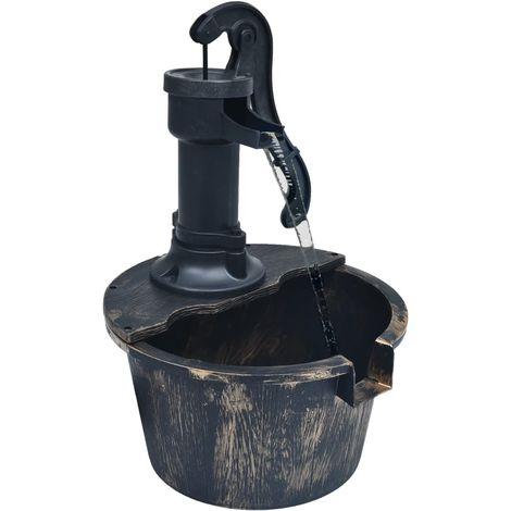 Hommoo Fuente de jardín con forma de barril y con bomba
