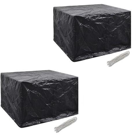 Hommoo Fundas muebles de jardín 2 uds 4 pers 8 ojales ratán 113x113cm