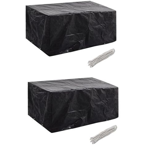 Hommoo Fundas muebles de jardín 2 uds 4 pers 8 ojales ratán 180x140cm