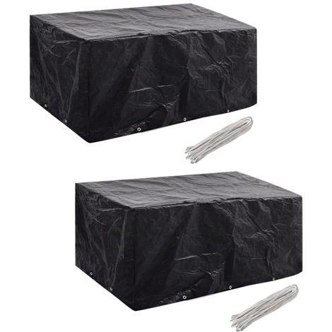 Hommoo Fundas muebles de jardín 2 uds 6 pers 10 ojales ratán 240x140cm