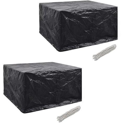 Hommoo Fundas muebles de jardín 2 uds 6 pers 8 ojales ratán 172x113cm