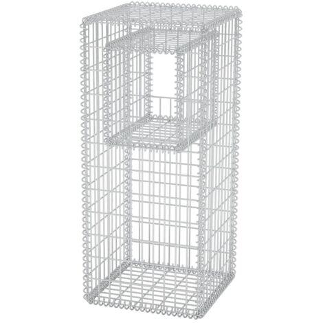 Hommoo Gabion Basket Post/Planter Steel 50x50x120 cm QAH04665