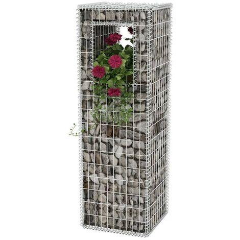 Hommoo Gabion Basket Post/Planter Steel 50x50x160 cm VD04663