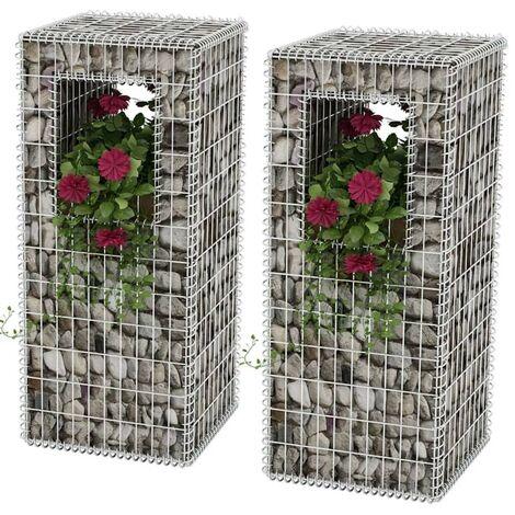 Hommoo Gabion Basket Posts/Planters 2 pcs Steel 50x50x120 cm