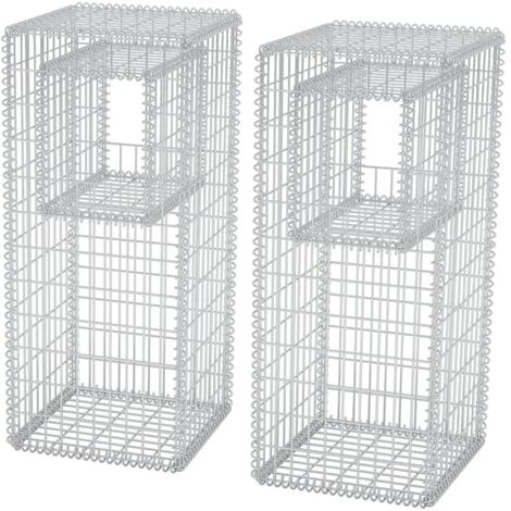 Hommoo Gabion Basket Posts/Planters 2 pcs Steel 50x50x120 cm QAH04666