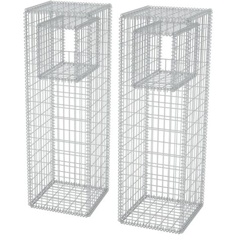 Hommoo Gabion Basket Posts/Planters 2 pcs Steel 50x50x160 cm QAH04664