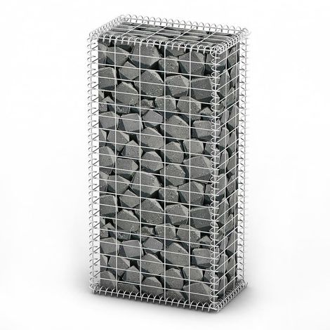 Hommoo Gabion Basket with Lids Galvanised Wire 100 x 50 x 30 cm