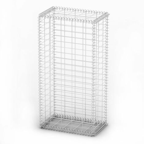 Hommoo Gabion Basket with Lids Galvanised Wire 100 x 50 x 30 cm QAH03796