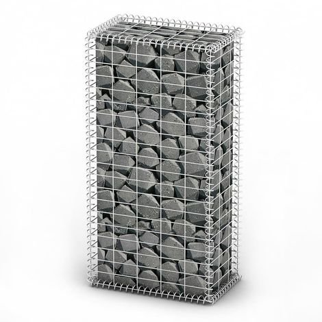 Hommoo Gabion Basket with Lids Galvanised Wire 100 x 50 x 30 cm VD03796