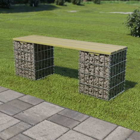 Hommoo Gabion Bench 120 cm Galvanised Steel and FSC Pinewood VD18786