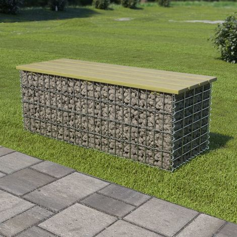 Hommoo Gabion Bench 120 cm Galvanised Steel and FSC Pinewood VD18789