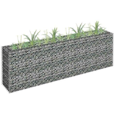 Hommoo Gabion Planter Galvanised Steel 180x30x60 cm