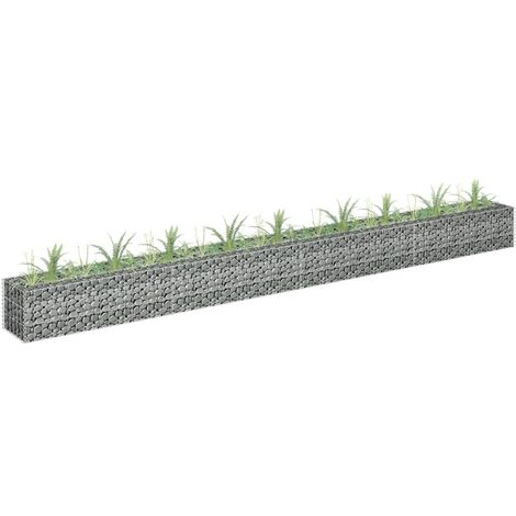 Hommoo Gabion Planter Galvanised Steel 360x30x30 cm