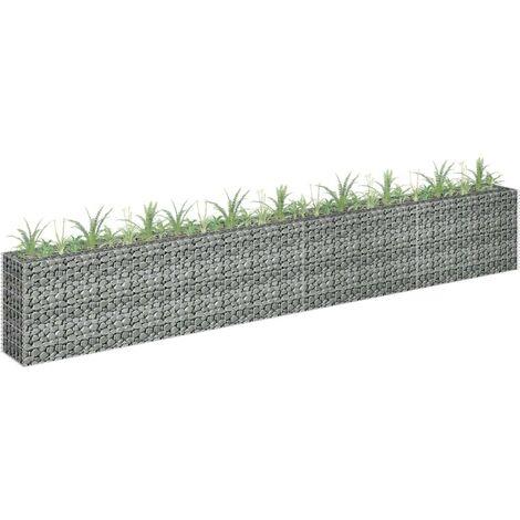 Hommoo Gabion Planter Galvanised Steel 360x30x60 cm