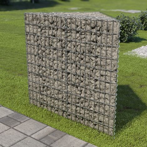Hommoo Gabion Planter Galvanised Steel 75x75x100 cm VD05499
