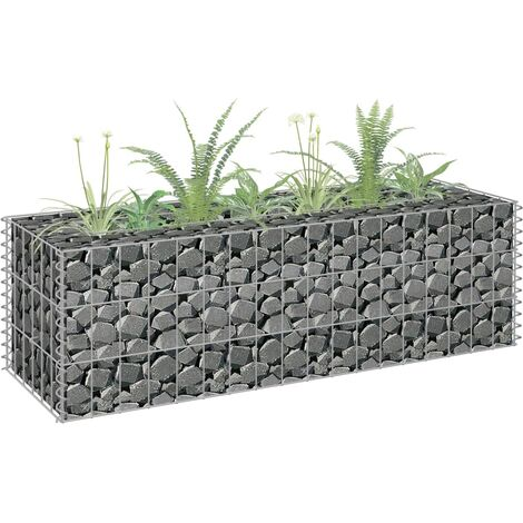 Hommoo Gabion Planter Galvanised Steel 90x30x30 cm