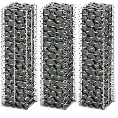 Hommoo Gabion Set 3 pcs Galvanised Wire 25 x 25 x 100 cm