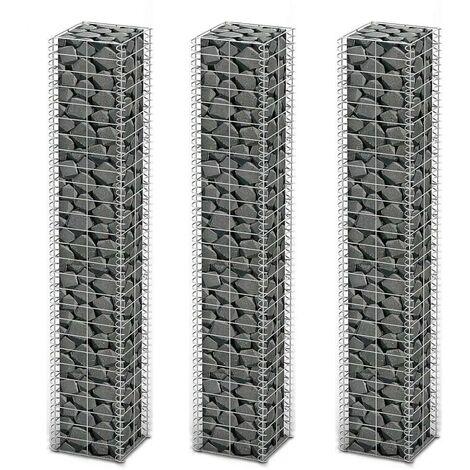 Hommoo Gabion Set 3 pcs Galvanised Wire 25 x 25 x 150 cm