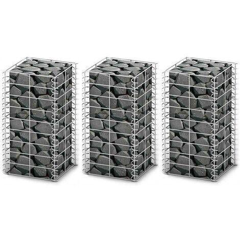 Hommoo Gabion Set 3 pcs Galvanised Wire 25 x 25 x 50 cm