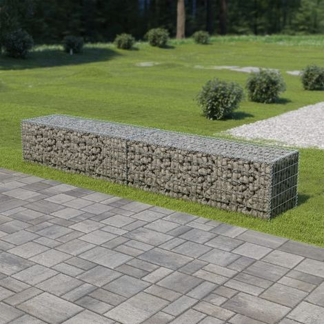 Hommoo Gabion Wall with Covers Galvanised Steel 300x50x50 cm VD05494