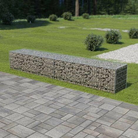 Hommoo Gabion Wall with Covers Galvanised Steel 300x50x50 cm