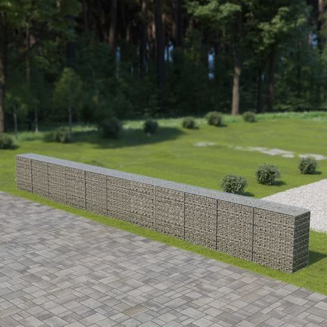 Hommoo Gabion Wall with Covers Galvanised Steel 900x50x100 cm VD05491