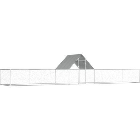Hommoo Gallinero de acero galvanizado 10x2x2 m