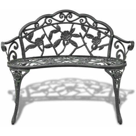 Hommoo Garden Bench 100 cm Cast Aluminium Green QAH26835